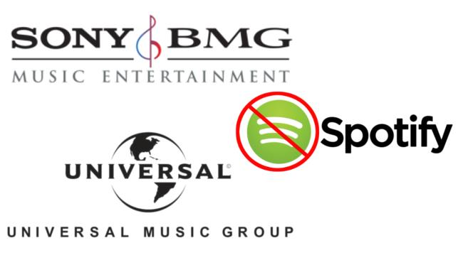 Spotify non è ben vista dalle grandi major discografiche che cercano di boicottare il suo operato