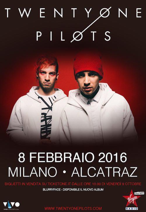 Locandina del concerto dei Twenty One Pilots a Milano nel 2016