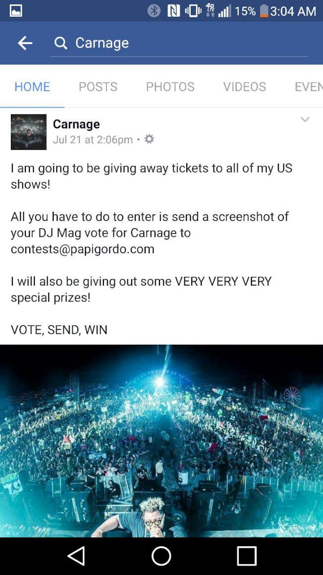 Il DJ Carnage offre biglietti gratuiti ai suoi concerti negli Stati Uniti in cambio di voti alla DJ Mag Top 100