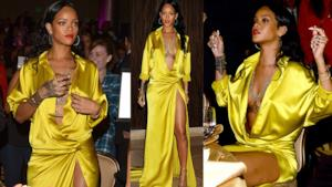 Rihanna in outfit giallo al gala dei Grammy Awards