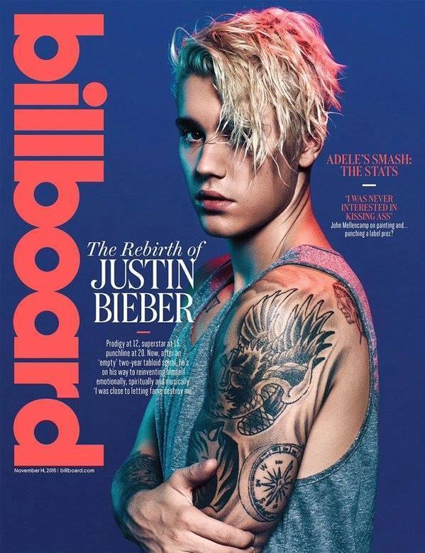 Justin Bieber sulla copertina di Billboard novembre 2015
