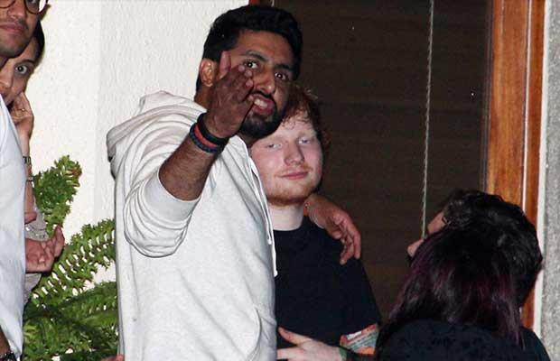 Ed Sheeran con Abhishek Bachchan a Mumbai