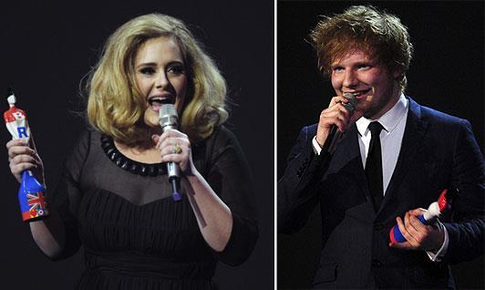 A sinistra Adele, a destra Ed Sheeran
