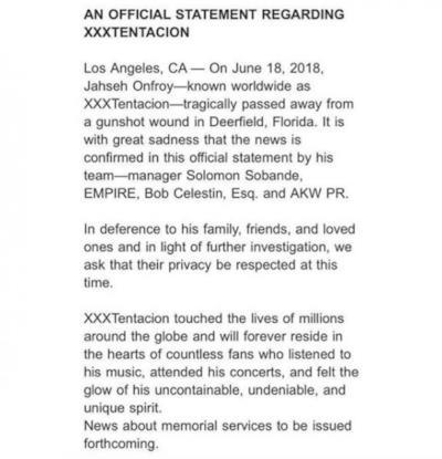 Il comunicato ufficiale del team di Xxxtentacion