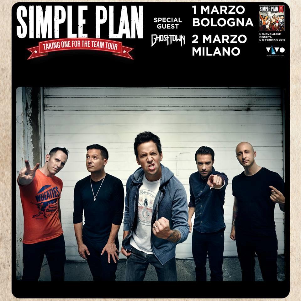 I Simple Plan sul poster del tour 2016 che in Italia vedrà le tappe di Bologna e Milano