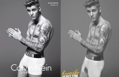 La foto ritoccata di Justin Bieber per Calvin Klein
