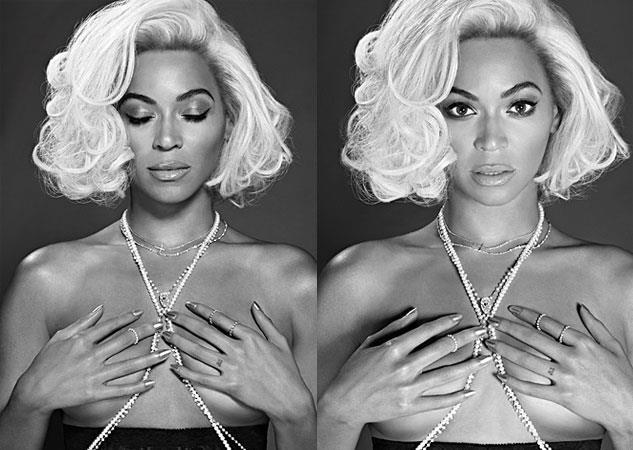 Beyoncé con parrucca bionda e seno coperto dalle mani