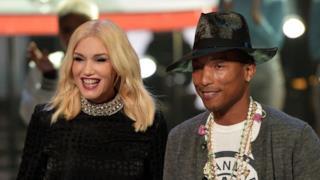 Primo piano di Gwen Stefani e Pharrell Williams