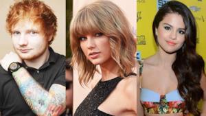 Ed Sheeran, Taylor Swift e Selena Gomez