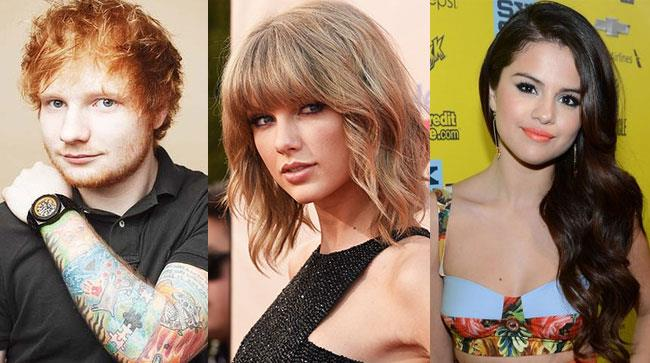 Ed Sheeran, Taylor Swift e Selena Gomez