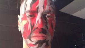 Marracash con la faccia pitturata nel promo di MTV Spit 3