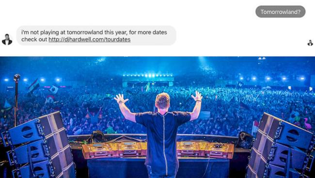 Selfie di Hardwell al Tomorrowland