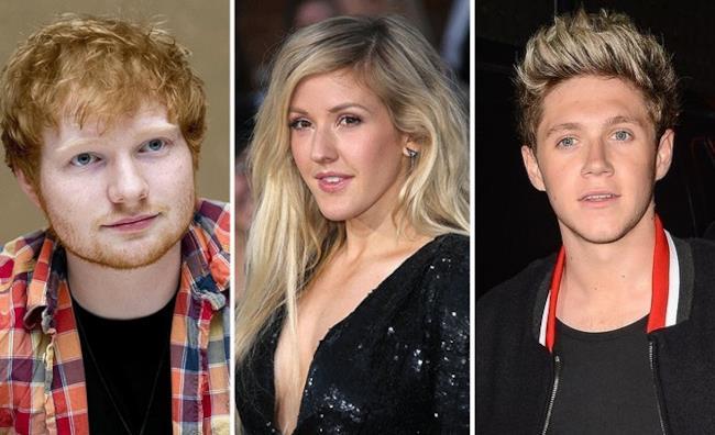 Ed Sheeran, Ellie Goulding, Niall Horan