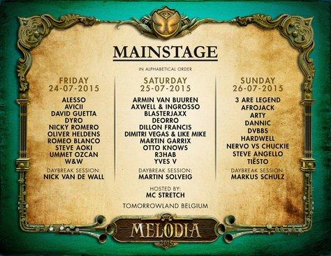 Tomorrowland 2015 main stage lineup