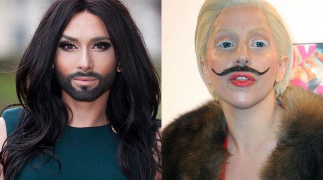 Conchita Wurst e Lady Gaga con dei baffi finti