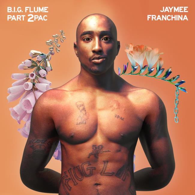 Tupac Shakur in armonia con le grafiche di Skin (l'album di Flume)