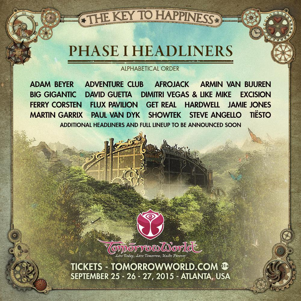 La lineup di Tomorrowworld