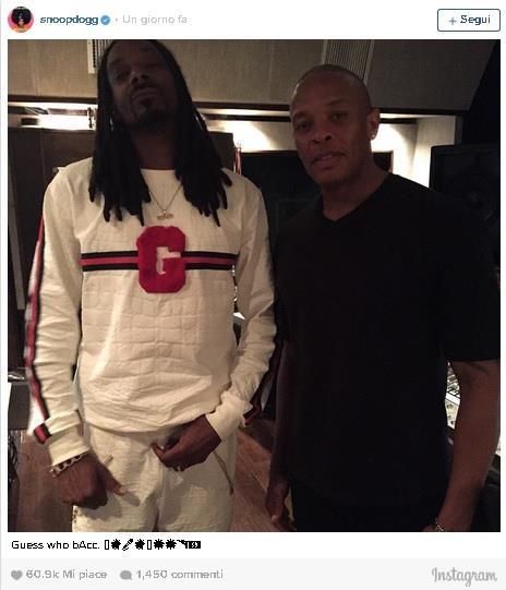 Snoop e Dr Dre: lo scatto postato su Instagram