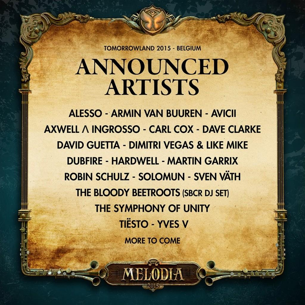 La line up del Tomorrowland 2015