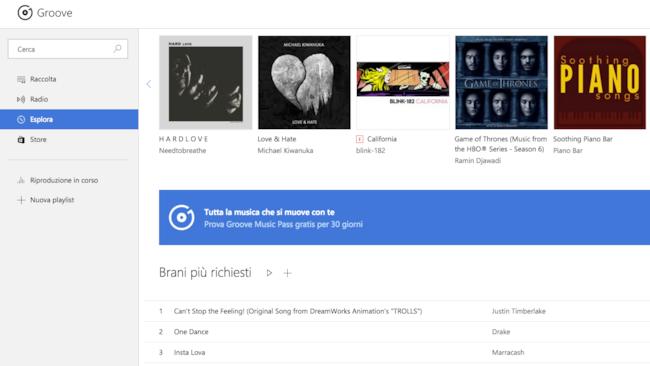 La schermata del sito di Groove