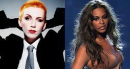Primo piano di Annie Lennox e Beyoncé sul palco