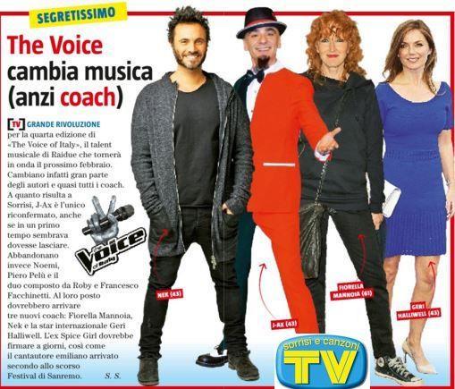 I nuovi coach di The Voice of Italy 2016 secondo TV Sorrisi e Canzoni
