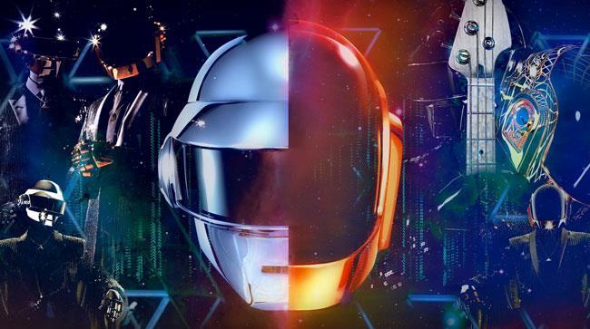 Una sovrapposizione grafica dei caschi dei due componenti dei Daft Punk