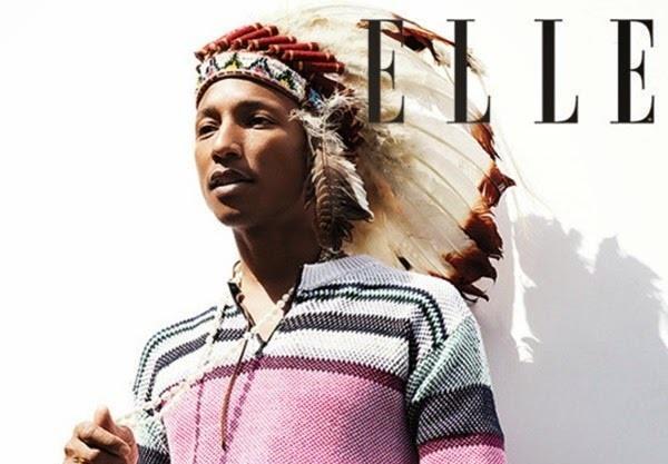 Pharrell Williams sulla copertina di Elle UK con copricapo indiano
