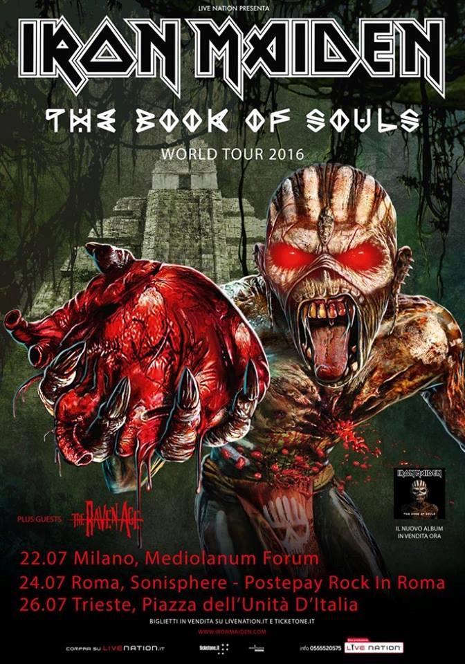La locandina del tour 2016 degli Iron Maiden in Italia a Milano, Roma e Trieste