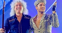 Brian May dei Queen + Adam Lambert durante il tour 2014