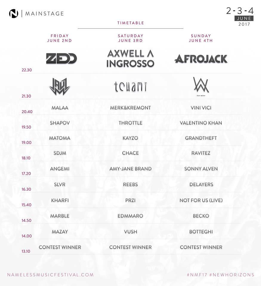 Gli orari del Nameless Music Festival 2017