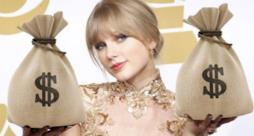 Taylor Swift con sacchi di soldi