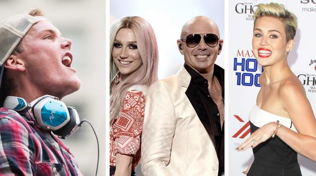 Kesha e Pitbull fra Miley Cirus e Avicii