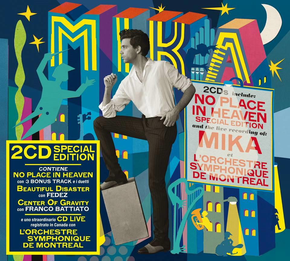 Mika sulla coloratissima cover del disco No Place In Heaven Special Edition