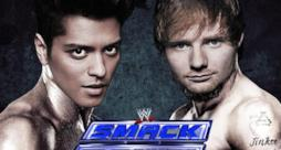 Ed Sheeran e Bruno Mars come due wrestler