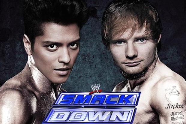 Ed Sheeran e Bruno Mars come due wrestler