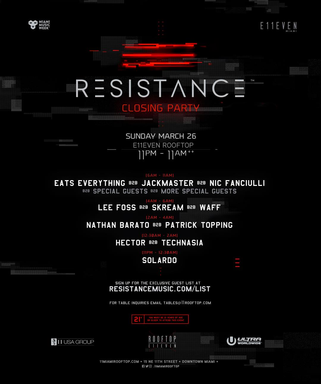 Resistance Closing Party 2017 @ E11EVEN