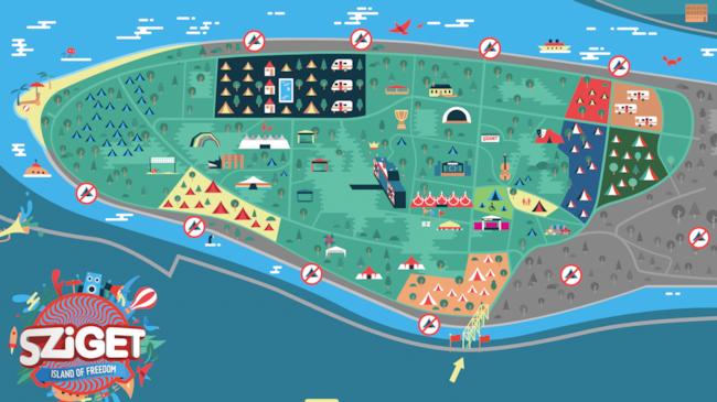 La mappa dello Sziget Festival