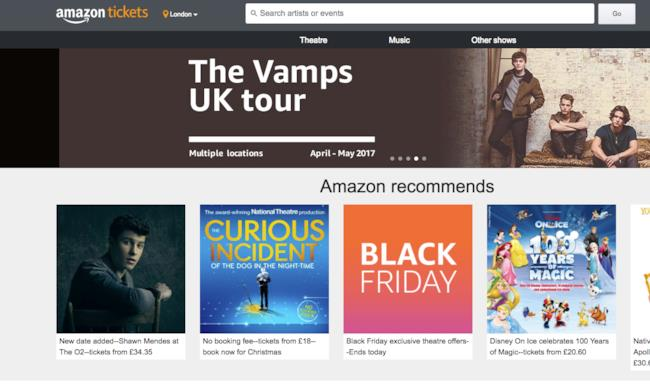La homepage di Amazon Tickets