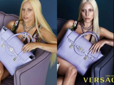 Confronto tra la foto originale e quella ritoccata di Lady Gaga per Versace
