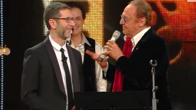 Fabio fazio e Renzo Arbore sul palco di Sanremo 2014
