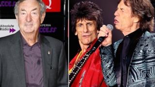Nick Mason dei Pink Floyd con Ronnie Wood e Mick Jagger dei Rolling Stones