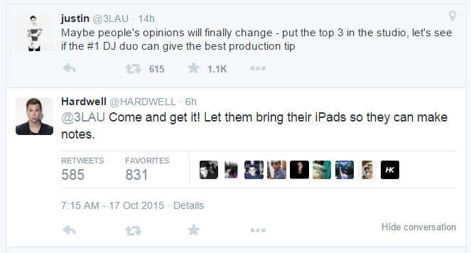 Hardwell twitta a proposito di Dimitri Vegas & Like Mike