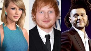 Taylor Swift, Ed Sheeran e The Weeknd