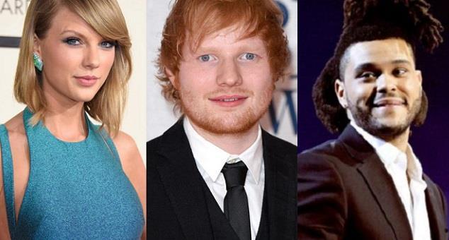 Taylor Swift, Ed Sheeran e The Weeknd