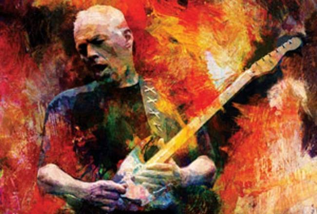 David Gilmour con la sua chitarra