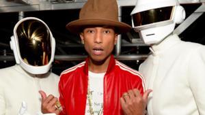 Primo piano di Pharrell e i Daft Punk
