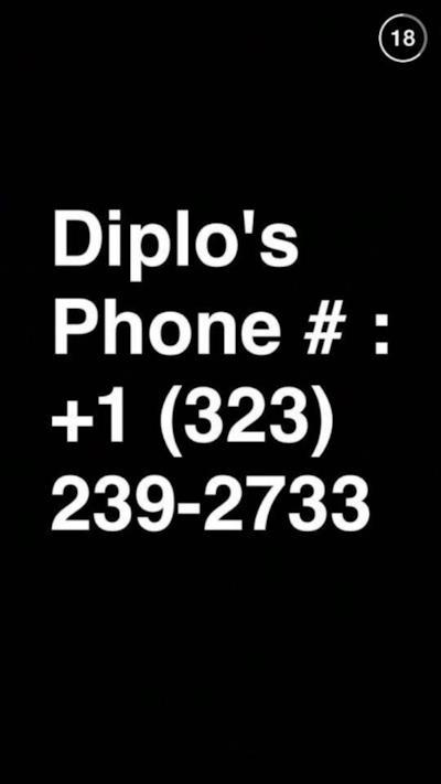 Il numero di Telefono di Diplo diffuso su Snapchat da DJ Snake