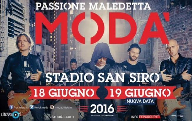 Il poster del tour 2016 dei Modà