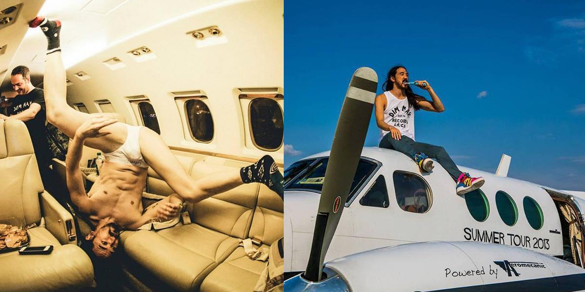 Steve Aoki e le sue sobrie foto sul suo Jet Privato